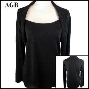 AGB Black Faux Bolero Sparkly Sweater Size L